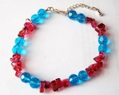 Blue Red Acrylic Glass Chip Bead Bracelet