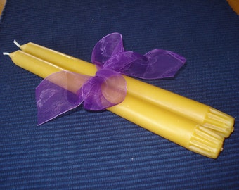 One Dozen 10 inch pure beeswax taper candles