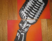 Handmade : Orange Microphone Two-Piece Set of Graffiti Stencil Art