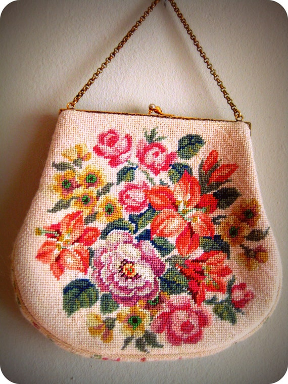 Vintage Petit Point Tapestry Clutch Needlepoint Roses Floral Purse