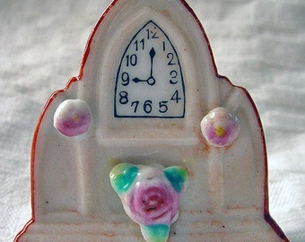 "Rare Vintage Miniature Porcelain Cathedral Clock ""Made in Occupied Japan."" Wedding Bells."