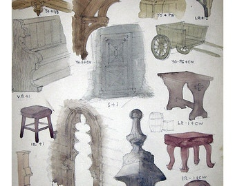 Vintage Original Watercolor Painting Study - Furniture and Architectural Elements