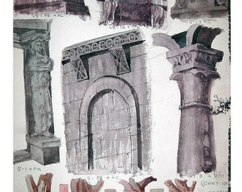 Vintage Original Watercolor Painting Study - Architectural Elements & Tree Trunks