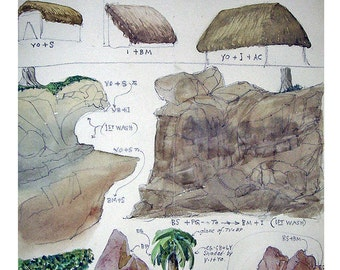 Vintage Original Watercolor Painting Study - Thatched Roofs, Rock Mounds, and Palm Trees