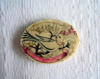 Vintage Scrimshaw with Etched Bird on Tree Branch