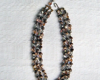 Vintage Marbled Glass and Crystal Bead Triple Strand Necklace