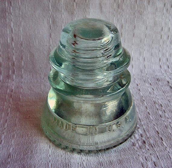 Vintage hemingray 42 glass telephone pole insulator in aqua for Vintage glass telephone pole insulators