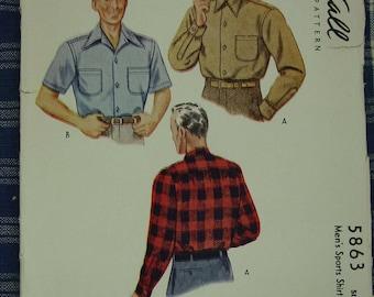 Vintage Pattern c.1944 Mens Sport Shirt Sz.14 1/2
