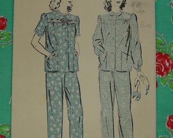 Vintage Pattern 1940's Advance No.3307 Pajamas Sz.16
