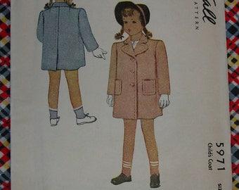 Vintage Pattern 1945 McCall No.5971 Childs Coat Sz.6, Uncut