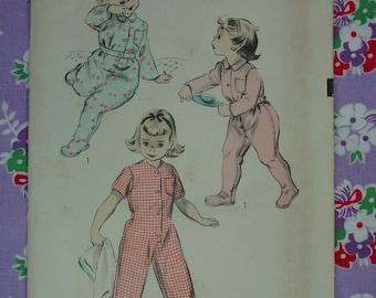 Vintage Pattern 1940's Advance No.5721 Toddler Pajamas Sz.2 Uncut