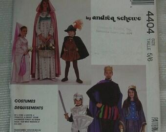 Vintage Pattern McCall's No.4404 Renaissance Costumes Child Size 5,6 Uncut
