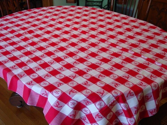 Excellent Vintage 1950's Tablecloth Red and White, Dutch Designs