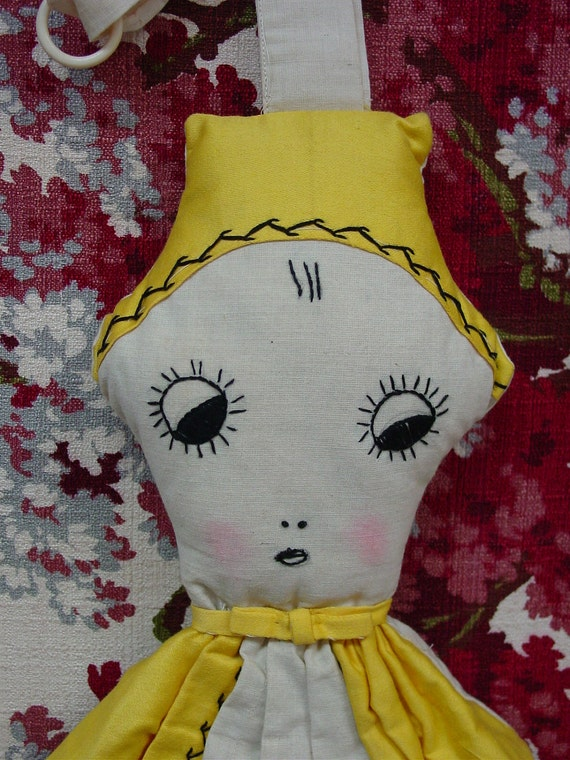 Fun Vintage 1930's Laundry Bag Doll Hand Made,Embroidered Whimsical