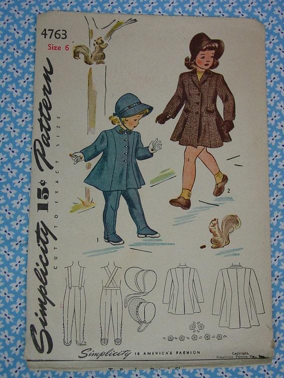 Vintage Pattern 1940's Simplicity No.4763 Girls Coat,Hat,Leggings Sz.6