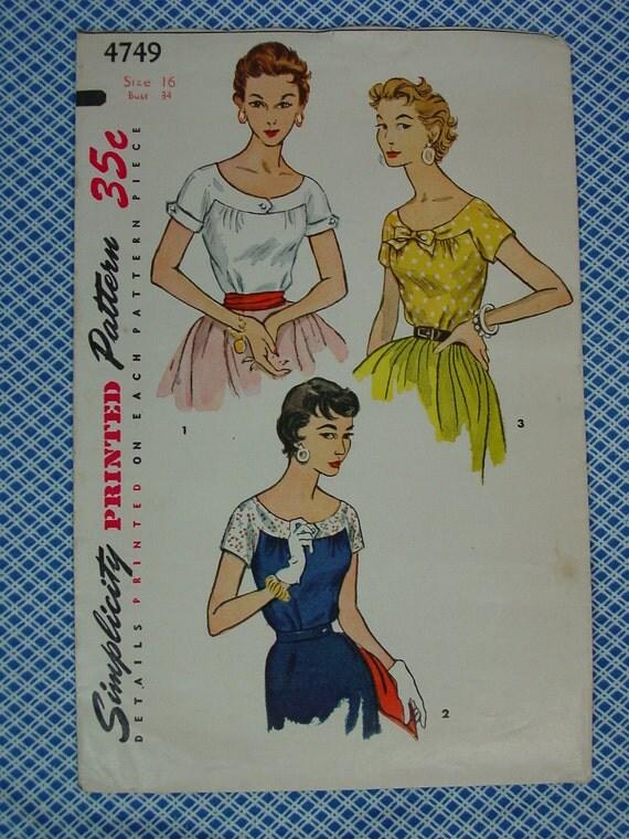 Vintage Pattern 1954 Simplicity No.4749 Blouse, Size 16