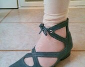 Vintage French blue Suede Ballet Style shoes SZ 8