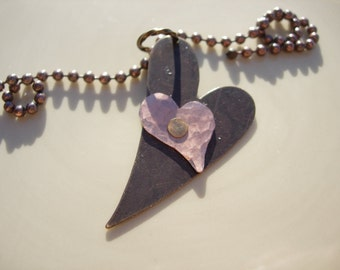 Mixed Metal Riveted Double Hearts Necklace