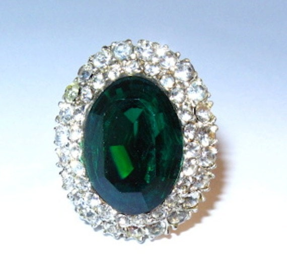 Vintage Emerald Rhinestone Adjustable Silver tone Cocktail Ring