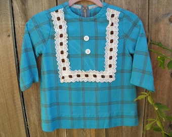Turquoise and brown 70's tunic for toddler.