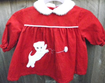 Christmas Cutie, White kitten with jewl eyes, classic vintage. Size 3 to 6 months