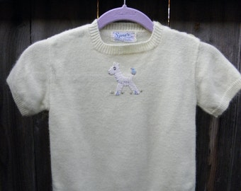Vintage fuzzy yellow sweater with lamb and bluebird applique.