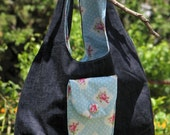 reversible cotton floral  pale blue bag for a girl or a young lady