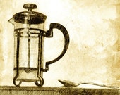 altered print of a French coffee press