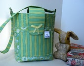 Quilted Cotton Diaper Bag in Blue and Green Floral and Stripe