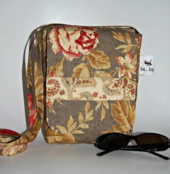 Quilted Cotton Mini Bag in Taupe/Grey Floral