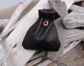 Handcrafted Drawstring Chocolate Brown Pouch Bag with Leather Sculpted Bead