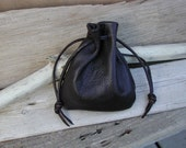 Men's Leather drawstring Pouch Bag - Leather Sack