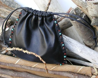 Leather Pouch - Leather Drawstring Beaded Pouch Bag - Hand Beaded - Shirlbcreationstoo