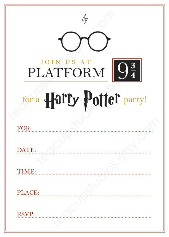 Impertinent image for harry potter invitations printable