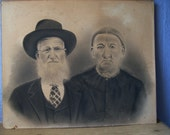Antique charcoal portrait, unframed, victorian art, victorian couple, charcoal drawing, victorian portrait, Pittsburgh
