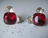 vintage jewelry, ruby red clip on earrings, red rhinestone earrings, july birthstone cancer