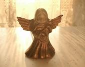 Vintage brass angel candle snuffer, Easter angel with mandolin, brass angel figurine, Easter dinner, Catholic figurine decor, Pittsburgh