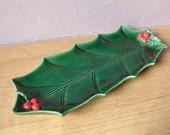 Christmas decor, Lefton holly leaf bowl dish, holiday decor