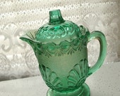 vintage thanksgiving dinner green depression glass creamer with lid, fall autumn green flowers, christmas