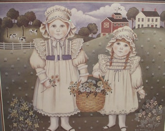 Vintage 1980's Nita Showers Victorian girls art print framed, 1985, girl's bedroom decor, Amish print, country farm art, sisters art