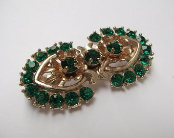 Antique 1940's Barclay emerald green rhinestone brooch pin, antique jewelry, Taurus, gold enamel brooch, antique pin, 11th anniversary gift