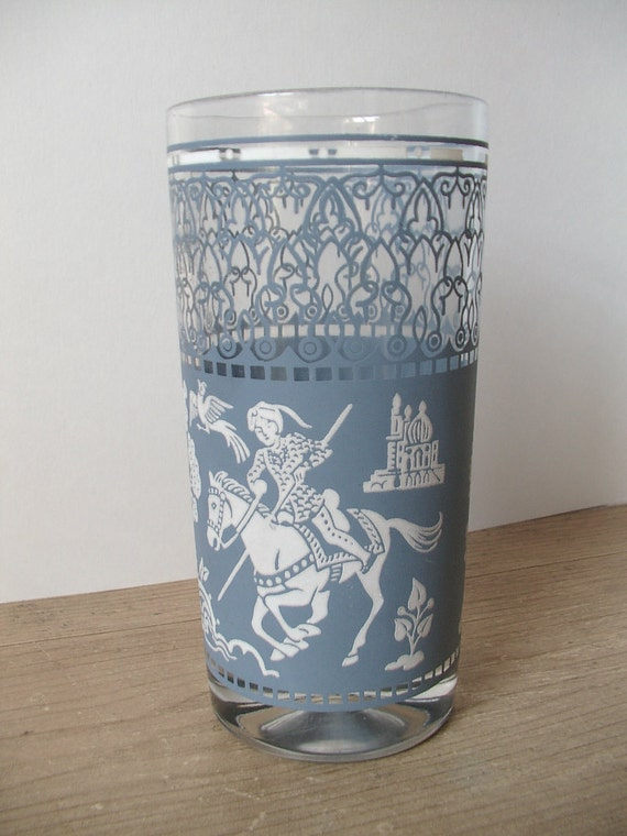 Vintage 1950's Jeanette glass blue jasperware drinking glass tumbler, blue and white, middle eastern theme, mid century, antique