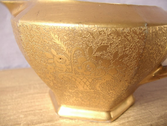 Antique 1910's Czechoslovakia MZ Altrohlau porcelain gold creamer, Antique creamer, 1920's Easter dinner, gold china creamer