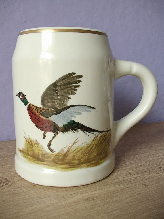 vintage mug beer stein, Hall Heirloom China pottery, hand painted pheasant, 1950's, cabin decor, hunting, bird collectible, artist signed