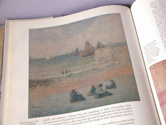 vintage French art book, The Art of Van Gogh, hardcover book, 1982, art prints, post impressionist paintings, portrait, sunflowers