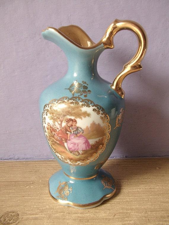 Limoges France pitcher vase, blue gold, victorian couple, Fragonard, shabby chic decor