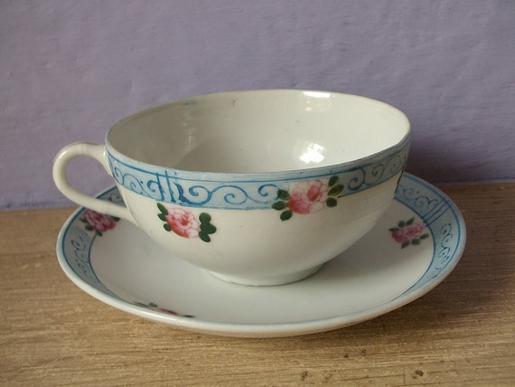 Antique Japanese Tea Cup And Saucer Set Egg Shell By