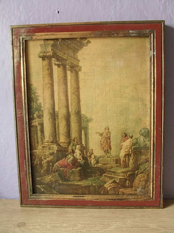 Vintage Italian Art Print Framed Ruins With St By