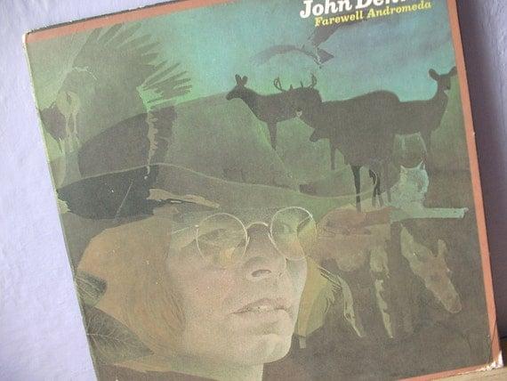 country cabin decor, John Denver album lp cover art, Farewell Andromeda, 1970's, deer, rocky mountains, colorado