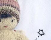 Sweet Little Hand Knitted Garden Fairy Doll Organic Undyed Lambswool